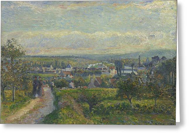 Aum Greeting Cards - View Of Saint-ouen-l?aum?ne, 1876 Greeting Card by Camille Pissarro