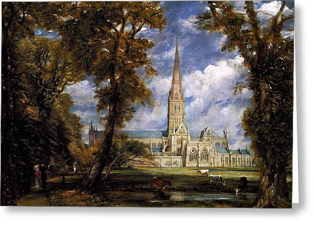 Constable Greeting Cards - View of Salisbury Cathdral Greeting Card by John Constable