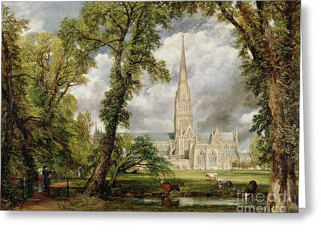 People Walking Greeting Cards - View of Salisbury Cathedral from the Bishops Grounds Greeting Card by John Constable