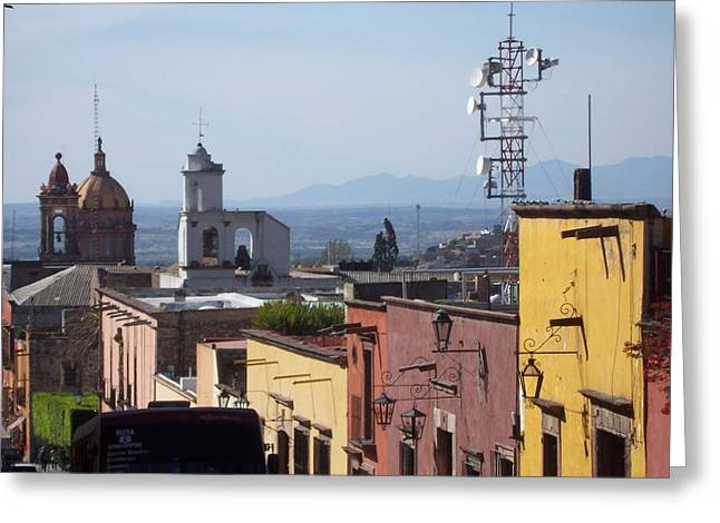 Mexico City Pyrography Greeting Cards - View of San Francisco Street in San Miguel  Greeting Card by Cristiana Marinescu