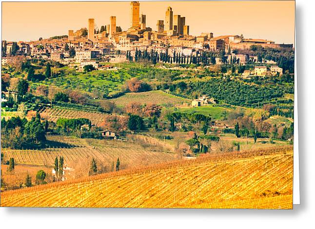 Tuscan Sunset Greeting Cards - View of san gimignano - Tuscany Greeting Card by Luciano Mortula