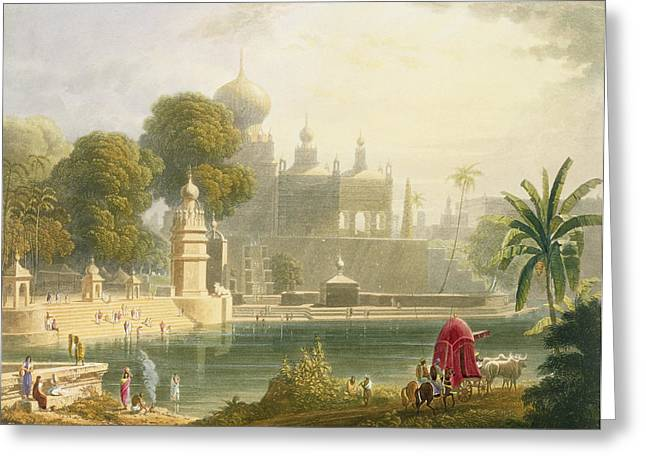 Minaret Greeting Cards - View Of Sassoor In The Deccan Greeting Card by Captain Robert M. Grindlay