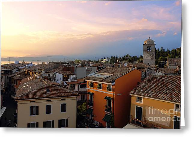 Italian Evening Greeting Cards - View of Sirmione with Lake Garda Greeting Card by Kiril Stanchev