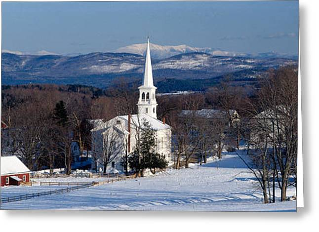 New England Village Photographs Greeting Cards - View Of Small Town In Winter, Peacham Greeting Card by Panoramic Images