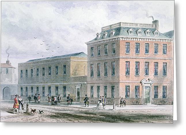 West End Greeting Cards - View Of Soho Square And Carlisle House Wc On Paper Greeting Card by Thomas Hosmer Shepherd