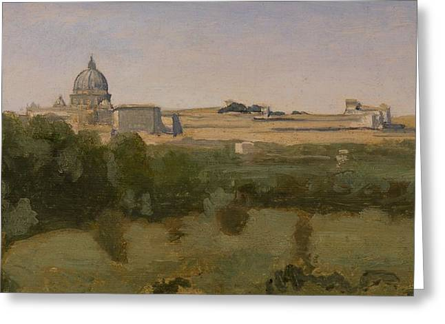 Imagined Landscapes Greeting Cards - View of St Peters Greeting Card by Jean Baptiste Camille Corot