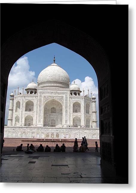Sha Greeting Cards - view of Taj Mahal from musafirkhana Greeting Card by Sanjeev  Kabra