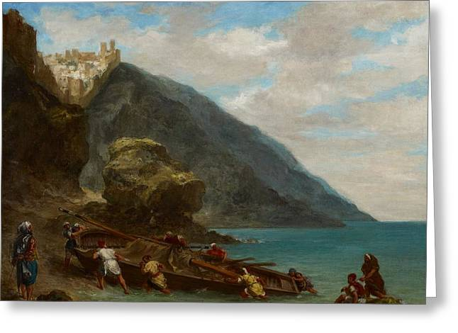 Pushing Greeting Cards - View of Tangier from the Seashore Greeting Card by Ferdinand Victor Eugene Delacroix