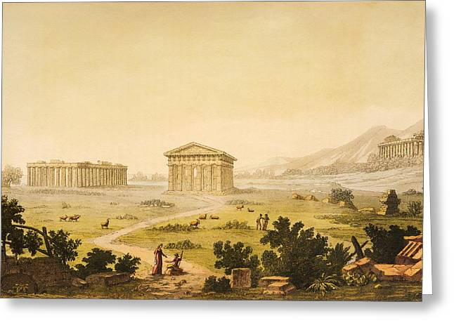 Greek Art Greeting Cards - View of temples in Paestum at Syracuse Greeting Card by Giulio Ferrario