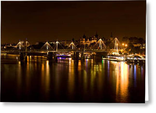 Ferris Wheel Night Photography Greeting Cards - View Of Thames River From Waterloo Greeting Card by Panoramic Images