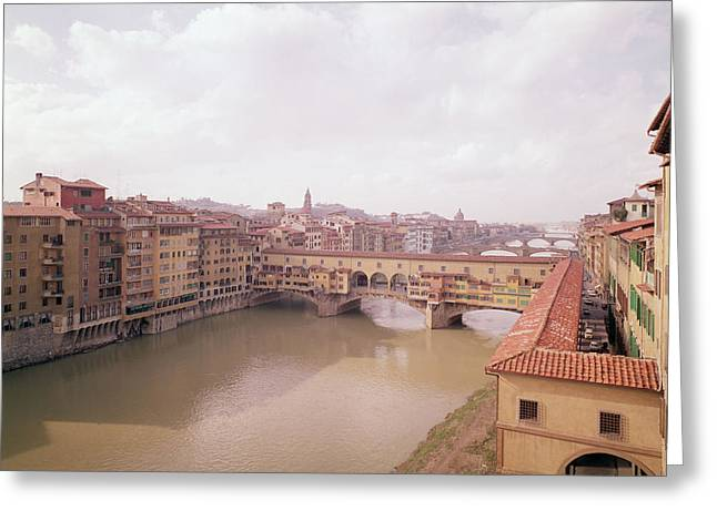 Arno Greeting Cards - View Of The Arno And The Ponte Vecchio Photo Greeting Card by .