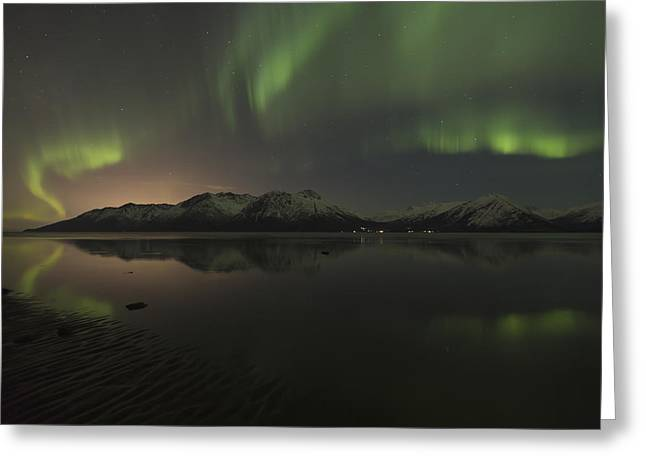 Reflections Of Sky In Water Greeting Cards - View Of The Aurora Borealis Northern Greeting Card by Lucas Payne
