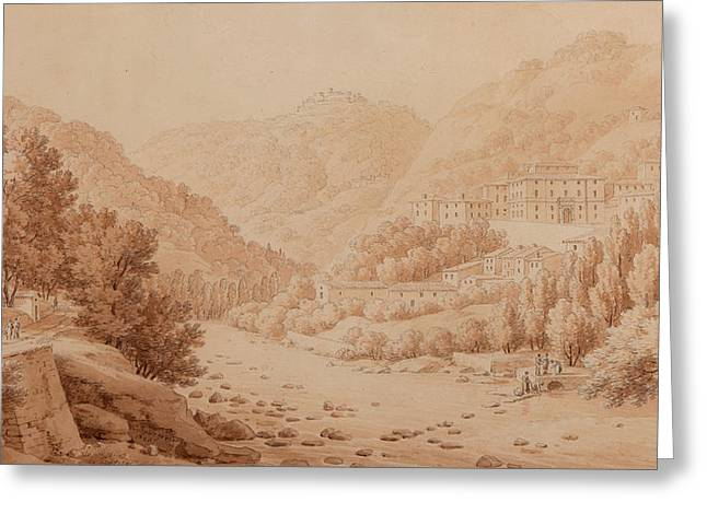 Italian Landscapes Drawings Greeting Cards - View of the Baths of Lucca Greeting Card by Constant Bourgeois du Castelet