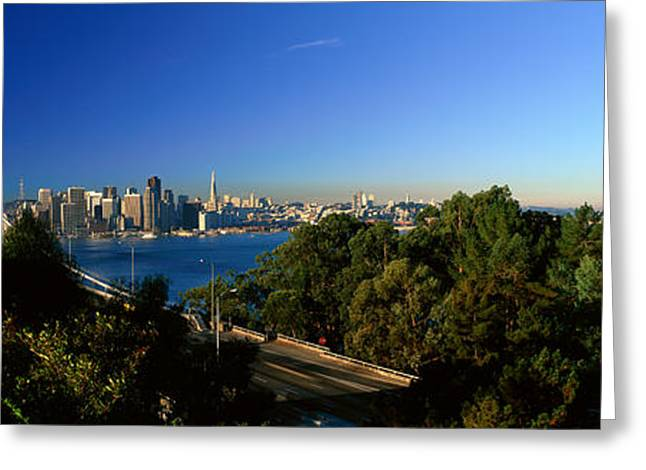San Francisco Bay Greeting Cards - View Of The Bay Bridge And Downtown San Greeting Card by Panoramic Images
