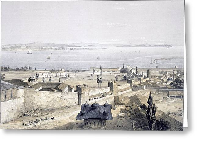 Hagia Sofia Greeting Cards - View Of The Bosphorus From The Mosque Greeting Card by Gaspard Fossati
