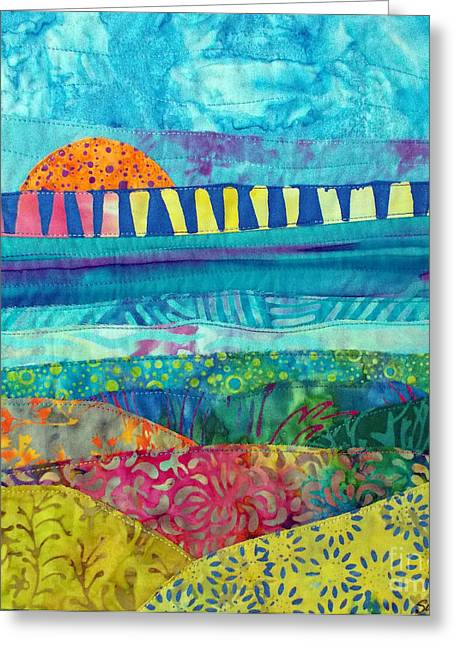 Sunset Posters Tapestries - Textiles Greeting Cards - View of the Bridge Greeting Card by Susan Rienzo