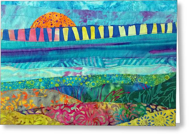 Abstract Beach Landscape Tapestries - Textiles Greeting Cards - View of the Bridge Greeting Card by Susan Rienzo