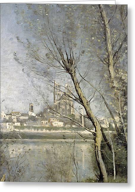 Mantis Greeting Cards - View of the Cathedral and Town through the Trees Greeting Card by Jean Baptiste Camille Corot