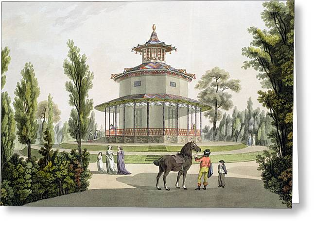 View Of The Chinese Summer House Greeting Card by Laurenz Janscha