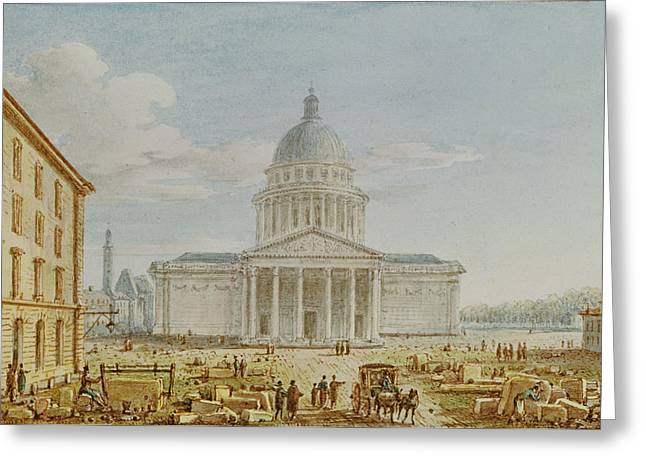 Patron Saint Greeting Cards - View Of The Church Of St. Genevieve, The Pantheon, 18th-19th Century Wc On Paper Greeting Card by Victor Jean Nicolle