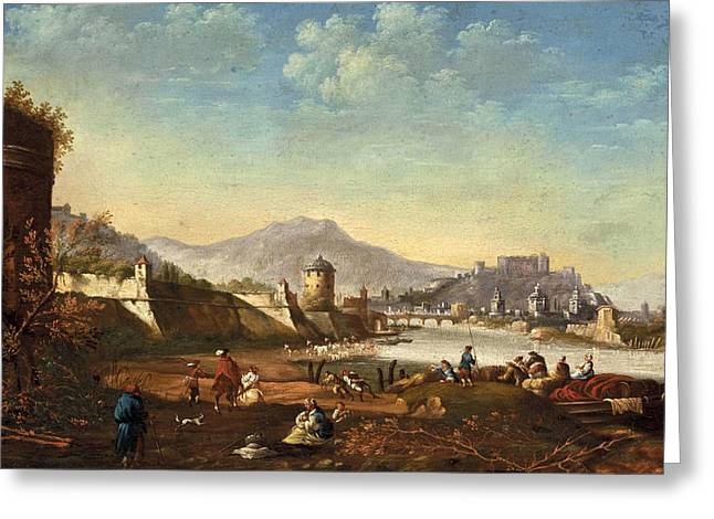 Salzburg Greeting Cards - View of the city of Salzburg with fortifications from Mirabell Palace Greeting Card by Johann Anton Eismann