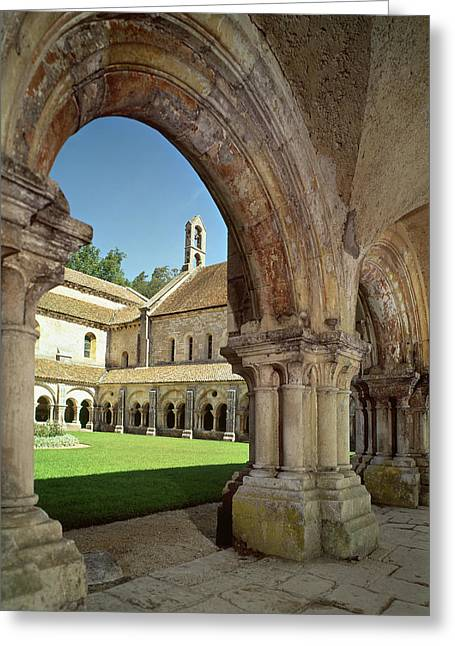 Cistercians Greeting Cards - View Of The Cloister Photo Greeting Card by French School
