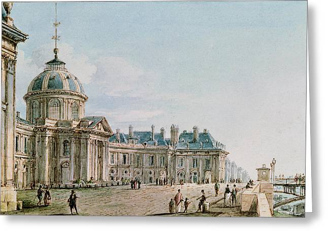 Facade Photographs Greeting Cards - View Of The College Des Quatre Nations, Paris, C.1810 Wc On Paper Greeting Card by Victor Jean Nicolle