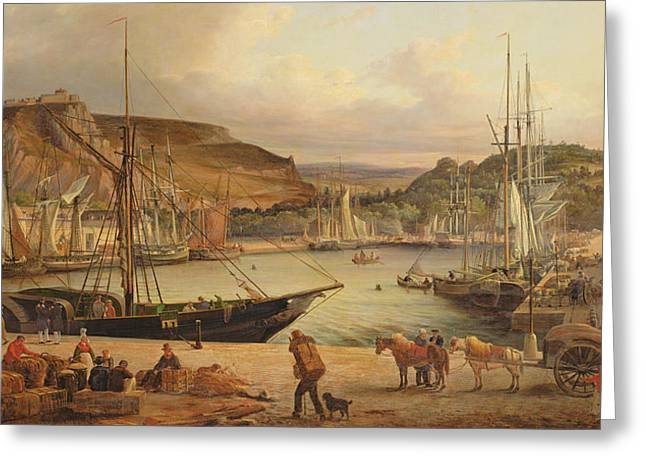 Sailboats At The Dock Greeting Cards - View of the commercial port at Cherbourg Greeting Card by Theodore Deslinieres