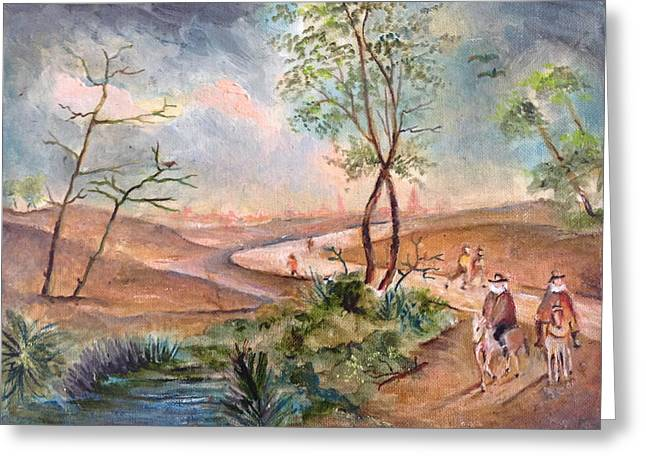 Landscape With A Road Greeting Cards - View of the countryside Greeting Card by Egidio Graziani