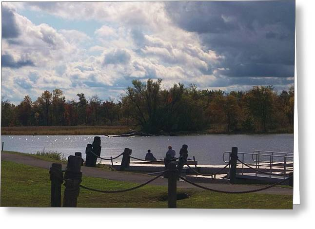 Docked Boat Greeting Cards - View of the Creek from Catskill Point Greeting Card by Ellen Levinson