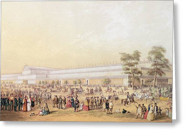 1851 Greeting Cards - View Of The Crystal Palace Greeting Card by George Baxter