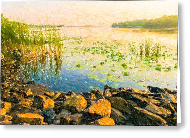 Peaceful Scenery Pastels Greeting Cards - View of the Dniper River at morning Greeting Card by Alain De Maximy