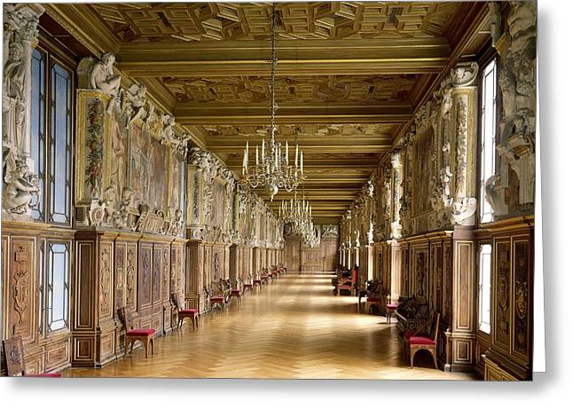 Francis Greeting Cards - View Of The Galerie Francois I, 1528-40 Photo Greeting Card by French School