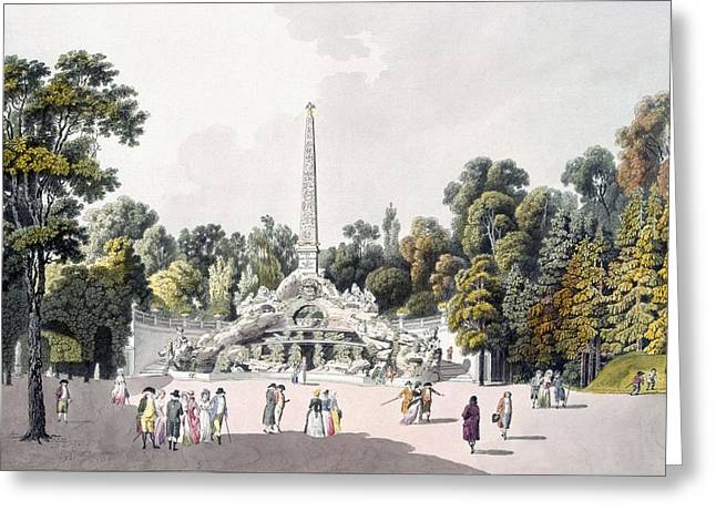 Palaces Greeting Cards - View Of The Garden At The Palace Greeting Card by Laurenz Janscha