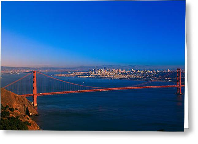 View Of The Golden Gate Bridge And City Greeting Card by Panoramic Images