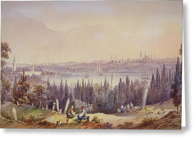 Istanbul Greeting Cards - View Of The Golden Horn, C.1840 Greeting Card by English School
