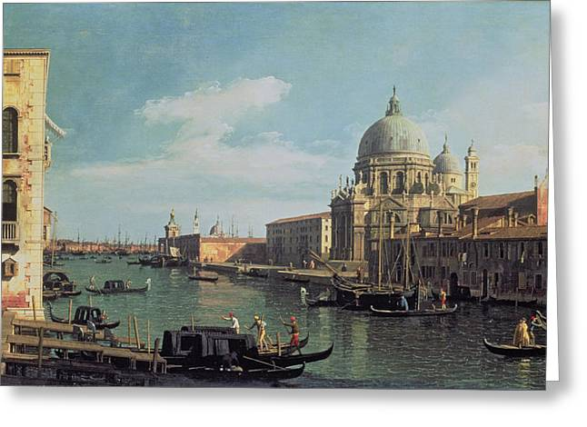 Venetian Architecture Greeting Cards - View Of The Grand Canal Santa Maria Greeting Card by Canaletto