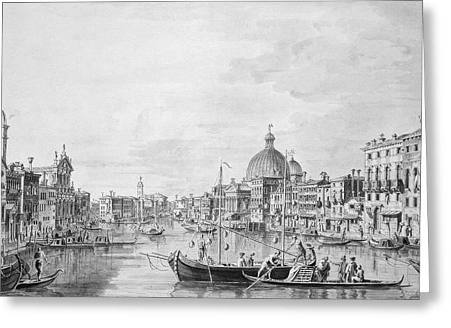 Crt Greeting Cards - View Of The Grand Canal, Venice, C.1800 Pen & Ink Wash Greeting Card by Francesco Triconi