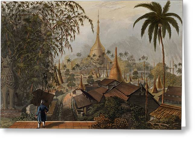 Burma Greeting Cards - View Of The Great Dagon Pagoda Greeting Card by Joseph Moore