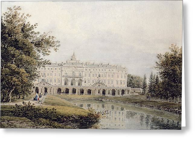 Facades Photographs Greeting Cards - View Of The Great Palace Of Strelna Near St. Petersburg, 1841 Wc On Paper Greeting Card by Yegor Yegorovich Meier