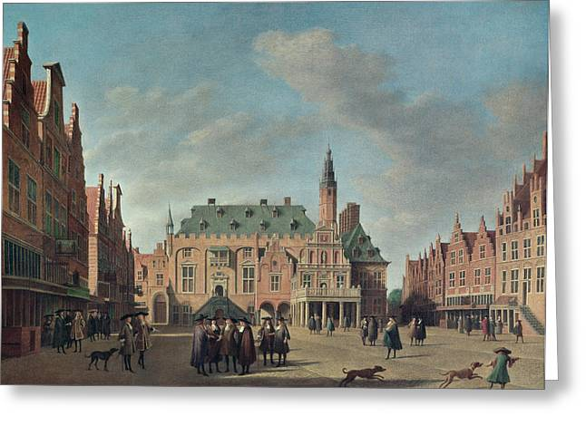 Town Photographs Greeting Cards - View Of The Grote Markt In Haarlem Oil On Canvas Greeting Card by Gerrit Adriaensz Berckheyde