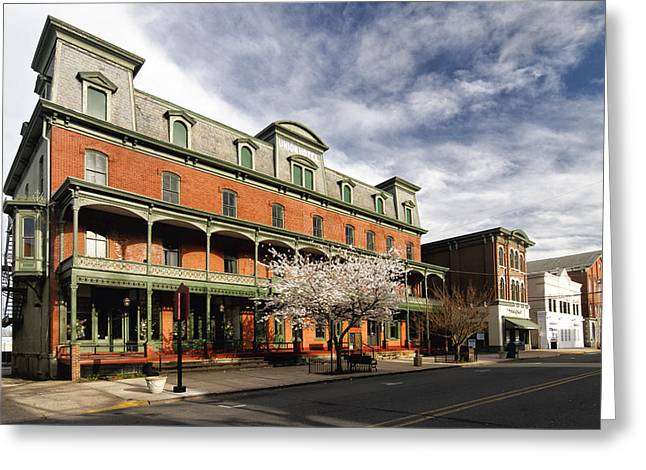 Trial Greeting Cards - View of the Historic Union Hotel in Flemington Greeting Card by George Oze