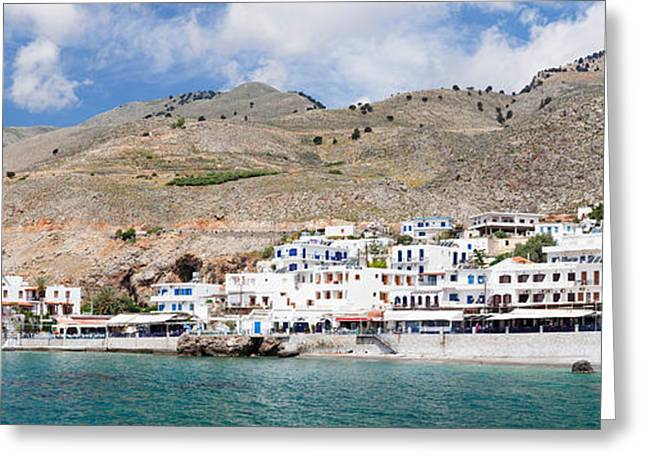 Crete Greeting Cards - View Of The Hora Sfakion, Crete, Greece Greeting Card by Panoramic Images