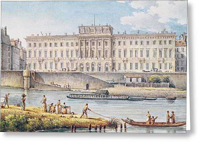 View Of The Hotel Des Monnaies At The Confluence Of The Two Branches Of The Seine  Greeting Card by Victor Jean Nicolle