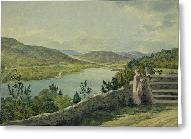 Fence Drawings Greeting Cards - View of the Hudson circa 1817 Greeting Card by Aged Pixel