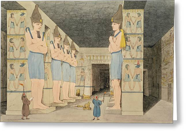 Hieroglyphics Greeting Cards - View Of The Interior Of The Temple Greeting Card by Giovanni Battista Belzoni