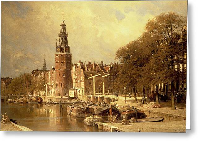 Docked Boats Greeting Cards - View of the Kalk Market in Amsterdam Greeting Card by Johannes Karel Christian Klinkenberg
