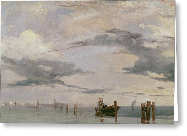 View Of The Lagoon Near Venice, 1826  Greeting Card by Richard Parkes Bonington