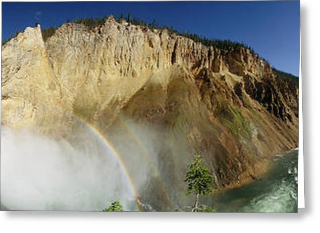 View Of The Lower Yellowstone Falls Greeting Card by Panoramic Images