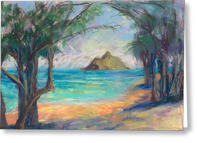 Shade Pastels Greeting Cards - View of the Mokulua Greeting Card by Jennifer Robin